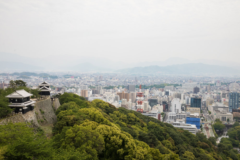 A view of Matsuyama city from the top of Matsuyama Castle