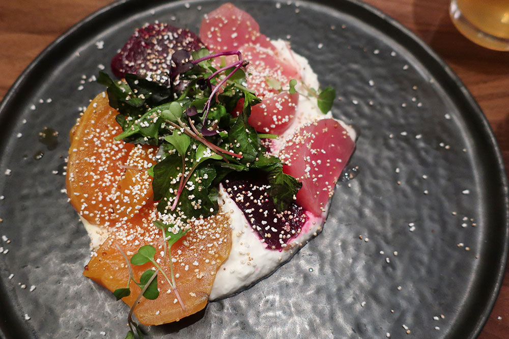 Long-roasted beets with horseradish crema, puffed amaranth and watercress from Mesler restaurant at Sophy Hyde Park