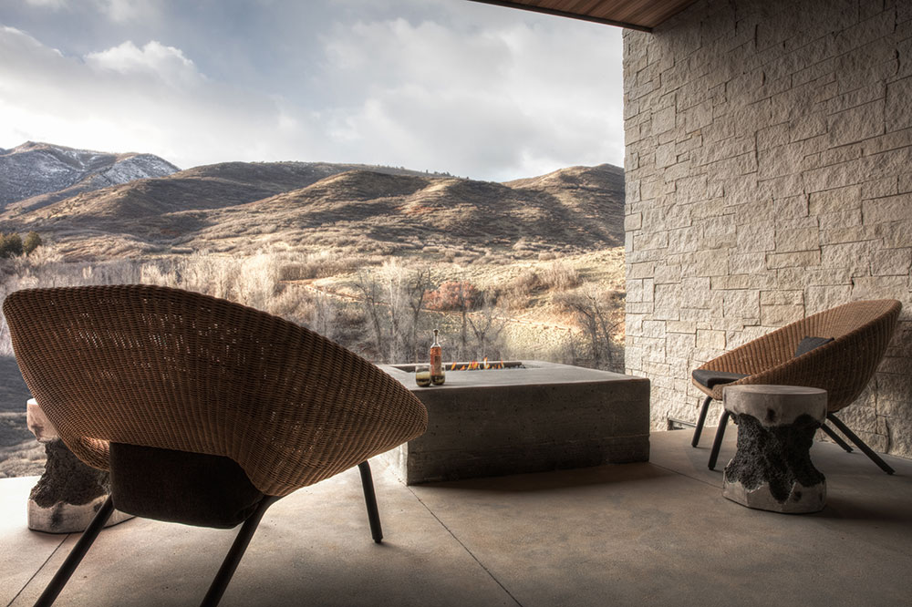 A mountain view from an Earth Suite patio at The Lodge at Blue Sky in Park City