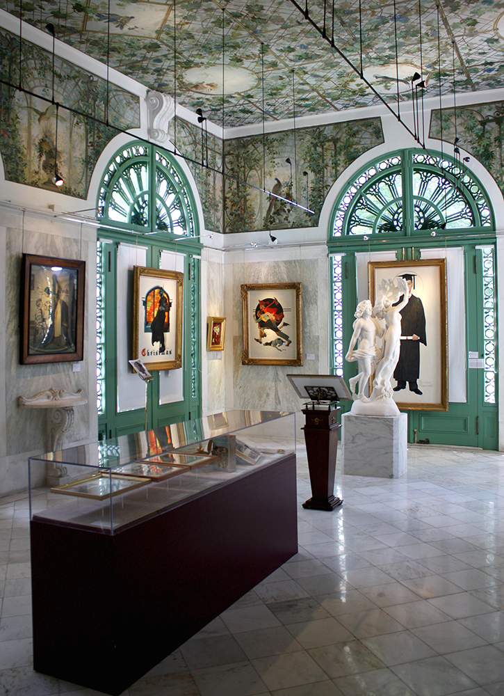The treasured early-20th century Treillage Loggia Murals by Tiffany Studios' artist James Wall Finn at The National Museum of American Illustration
