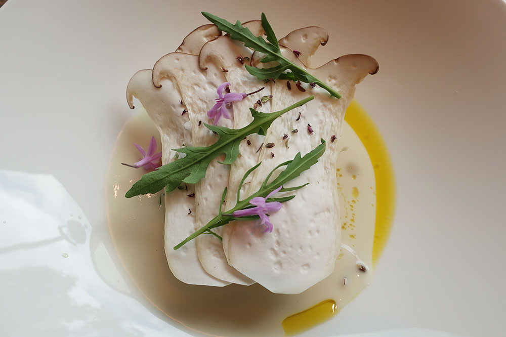 Veal rillettes with shaved king oyster mushrooms, cubes of white asparagus and truffle cream sauce from Hide restaurant