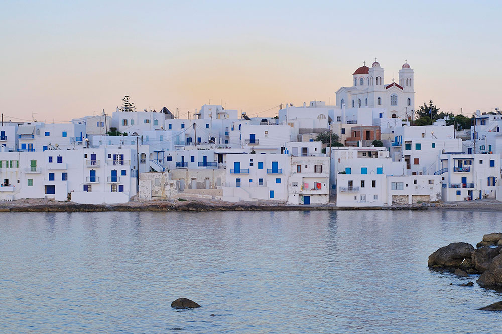 Traditional white Cycladic architecture in Naoussa, Paros