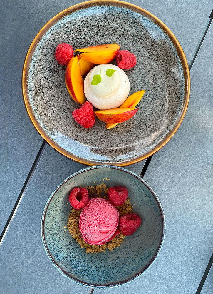 Nectarine and raspberry sorbets at Miraval Berkshires