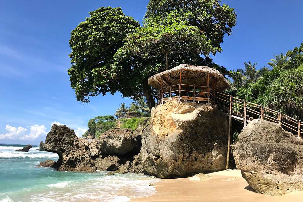 The view of the spa pavillion from the beach at Nihi Sumba on Sumba Island, Indonesia