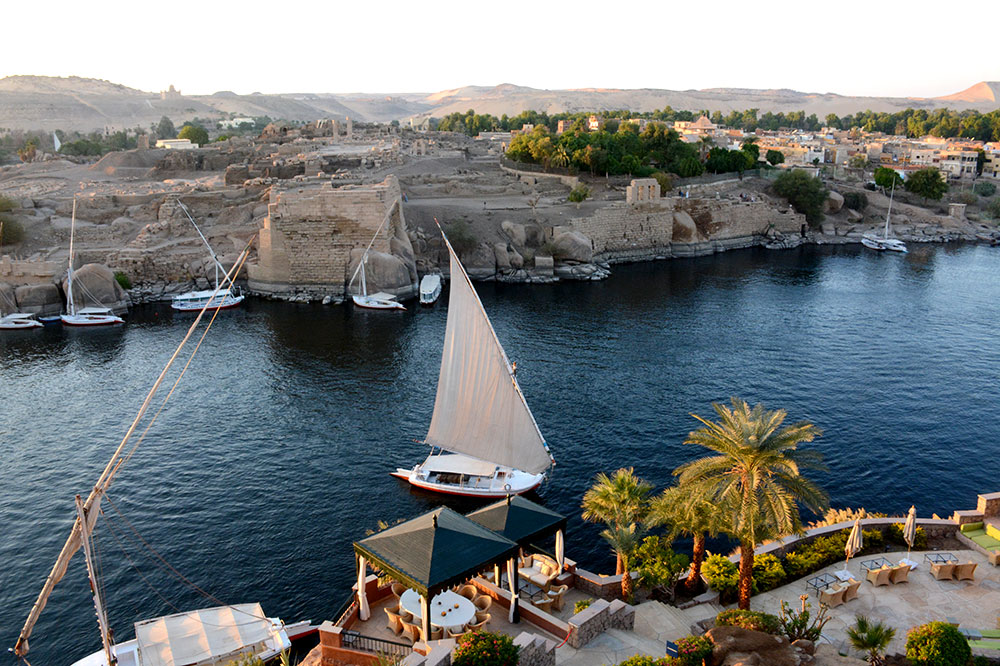 A view of Elephantine Island across the Nile from the Sofitel Legend Old Cataract Aswan