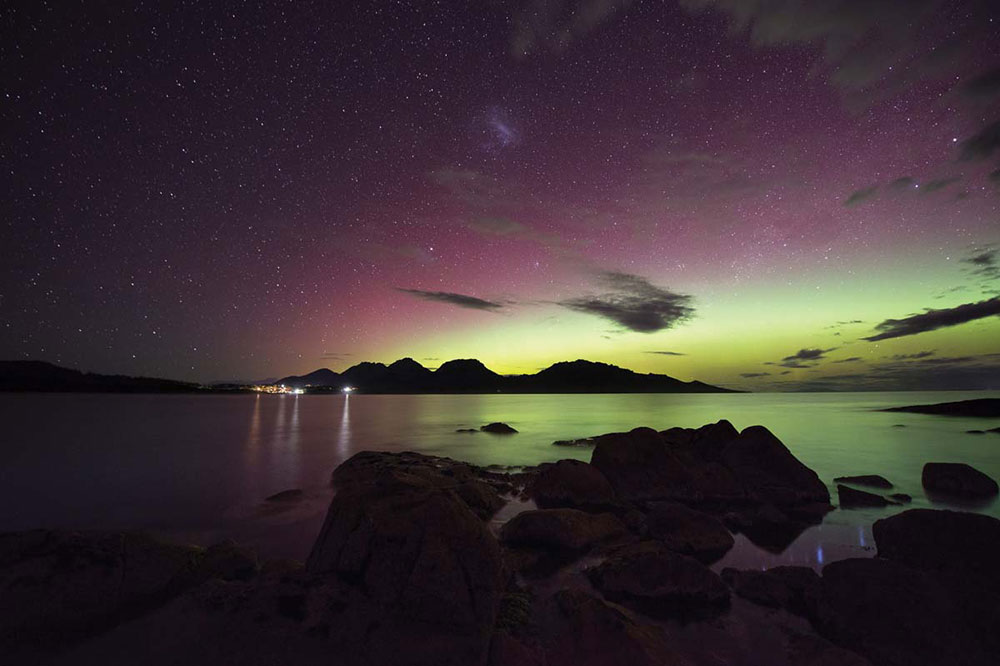 View of the Northern Lights from Saffire Freycinet