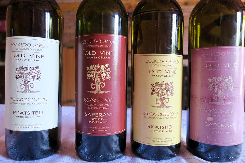 Various bottles of wine from Old Vine Family Cellar in Kvareli, Georgia