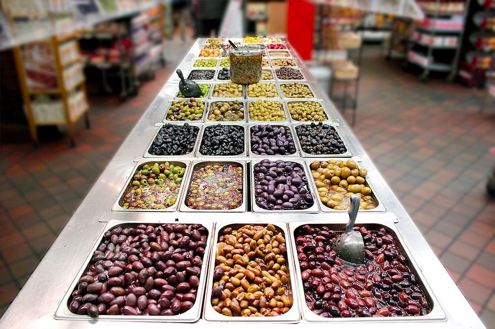 The olive bar at Sahadi's