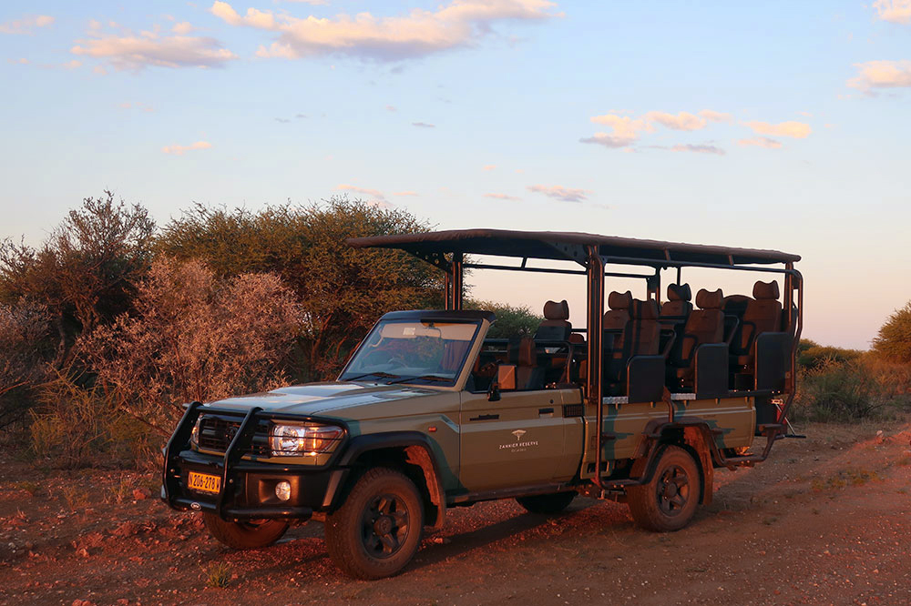 The safari vehicle for our sundowner drive during our stay at Omaanda