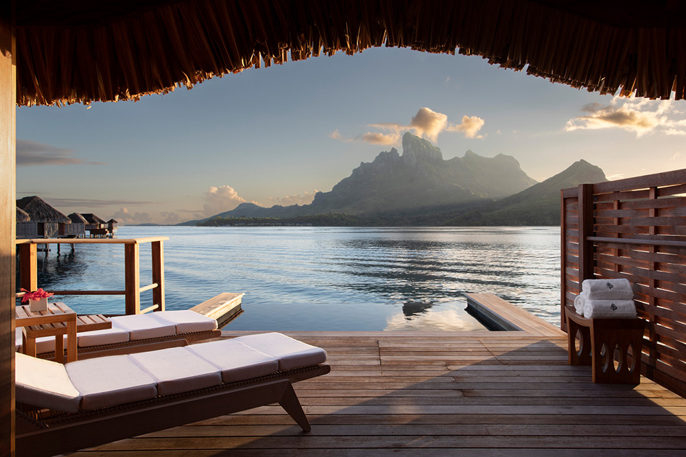 View from the deck of an overwater bungalow at Four Seasons Bora Bora