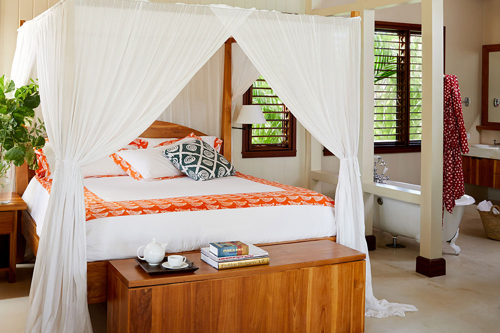 The bedroom of a Beach Villa at GoldenEye