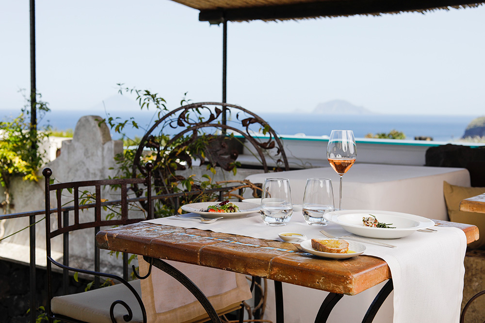 Dining terrace at Hotel Signum, Aeolian Islands, Italy