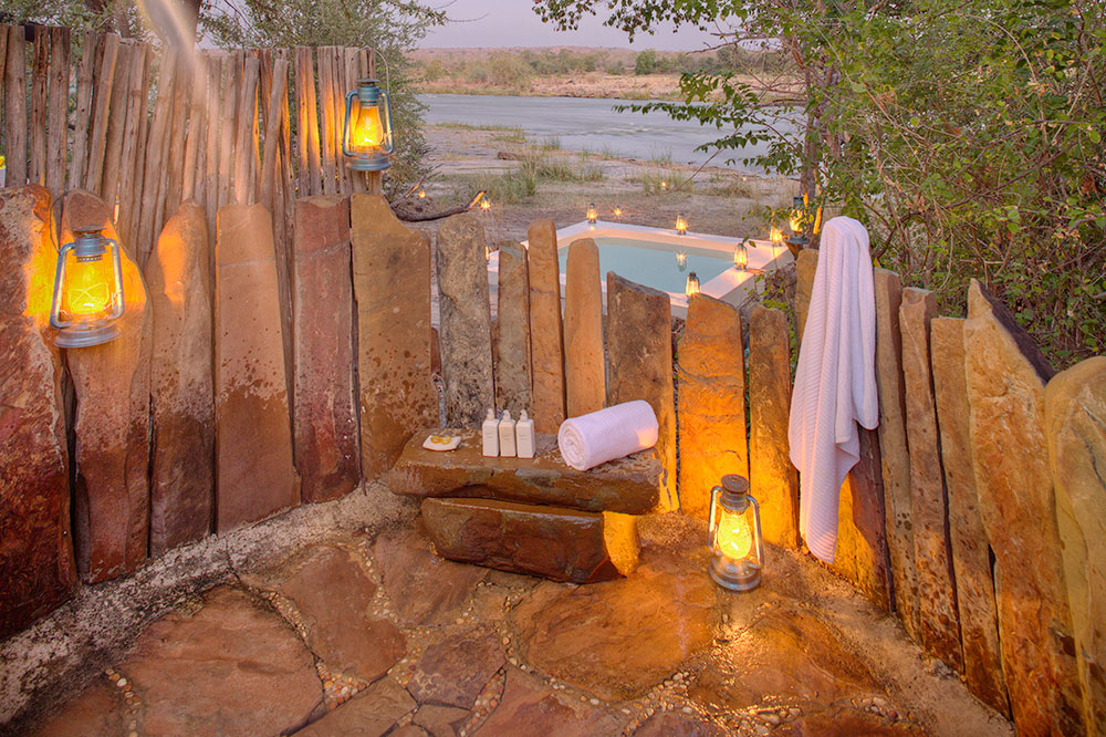 The outdoor shower of a villa at Azura Selous in Tanzania's Selous Game Reserve
