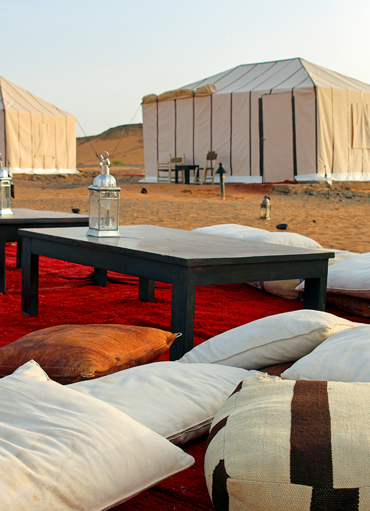 Outdoor sitting area at Erg Chebbi Luxury Desert Camp in the Sahara