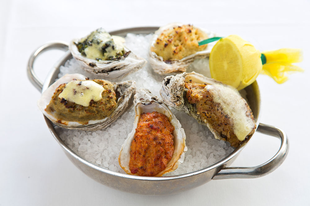 Baked oysters, prepared five ways, from Arnaud's in New Orleans