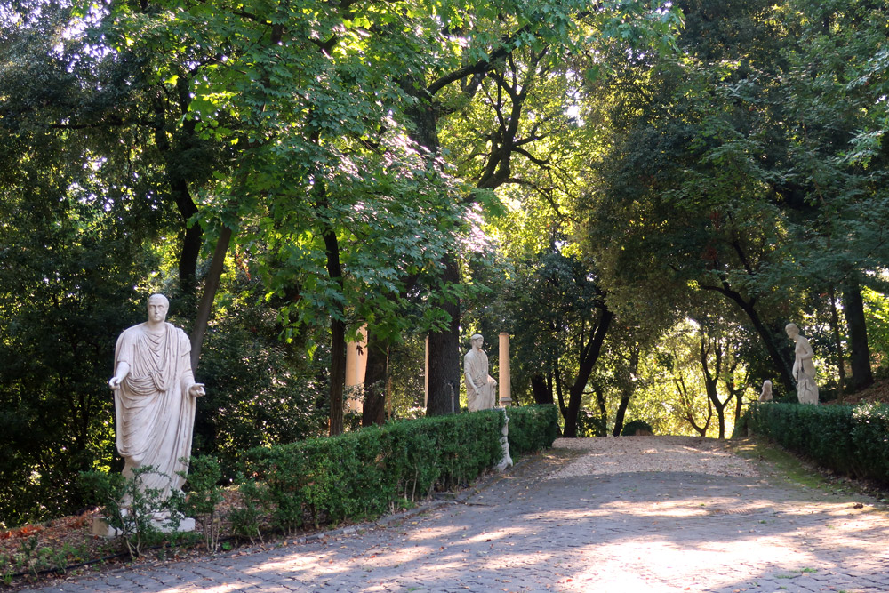 Sculpture-lined path through the Vatican Gardens