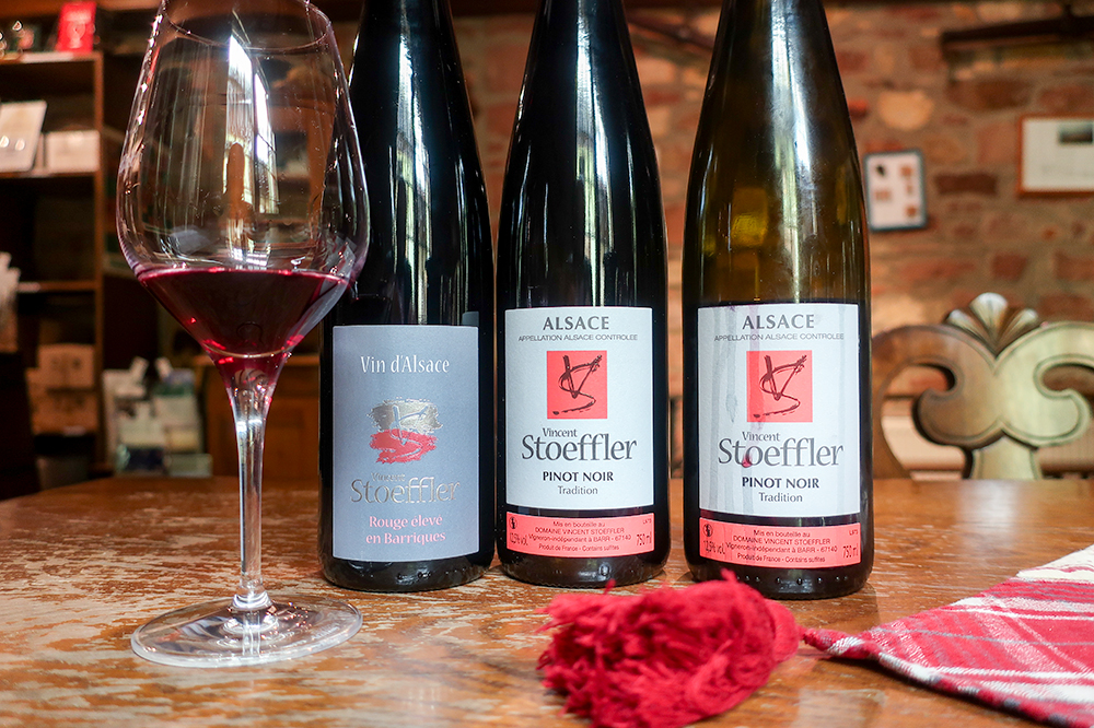 A selection of Pinot Noirs at Vincent Stoeffler in Barr