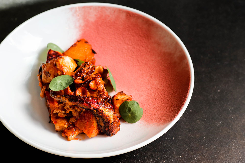 Charred Spanish octopus with roasted beets, guanciale and red pepper puree from Restaurant Medure in Ponte Vedra Beach