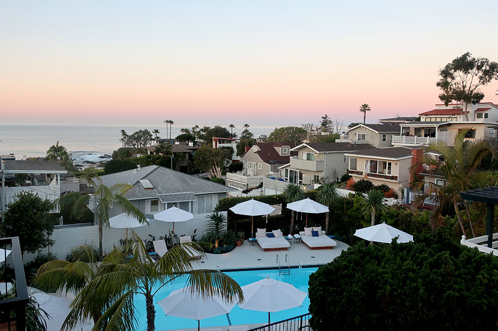 A view of the pool and ocean at the Hotel Joaquin in Laguna Beach, California