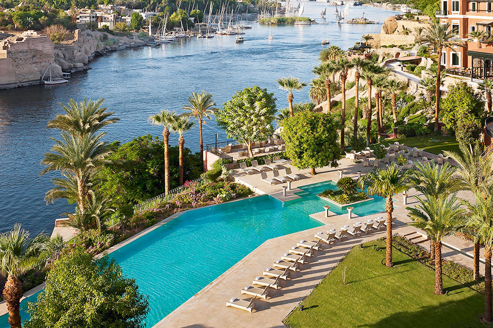 The pool and a view of the Nile at the Sofitel Legend Old Cataract Aswan in Aswan