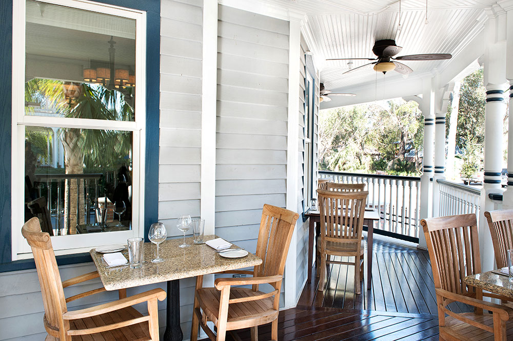 Porch seating at Preserved Restaurant in St. Augustine