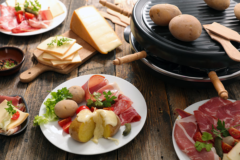 Raclette cheese with potato