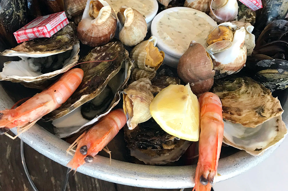 Seafood at La Cambuse du Saunier in Gruissan, Languedoc-Roussillon, France