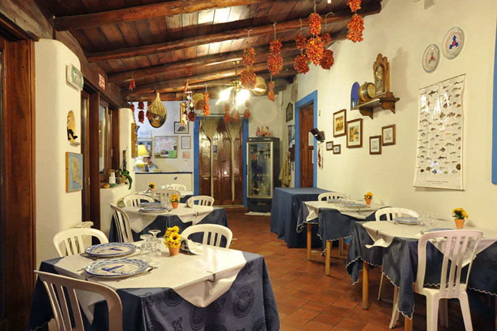 The restaurant at La Canna Hotel on the island of Filicudi in Italy