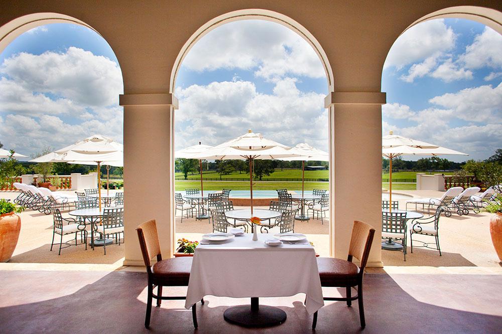 The restaurant patio at the Inn at Dos Brisas in Washington, Texas
