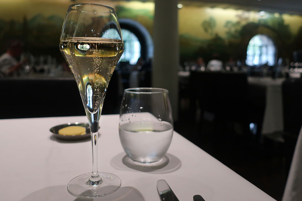 A flute of Nyetimber Classic Cuvee from Rex Whistler Restaurant in London
