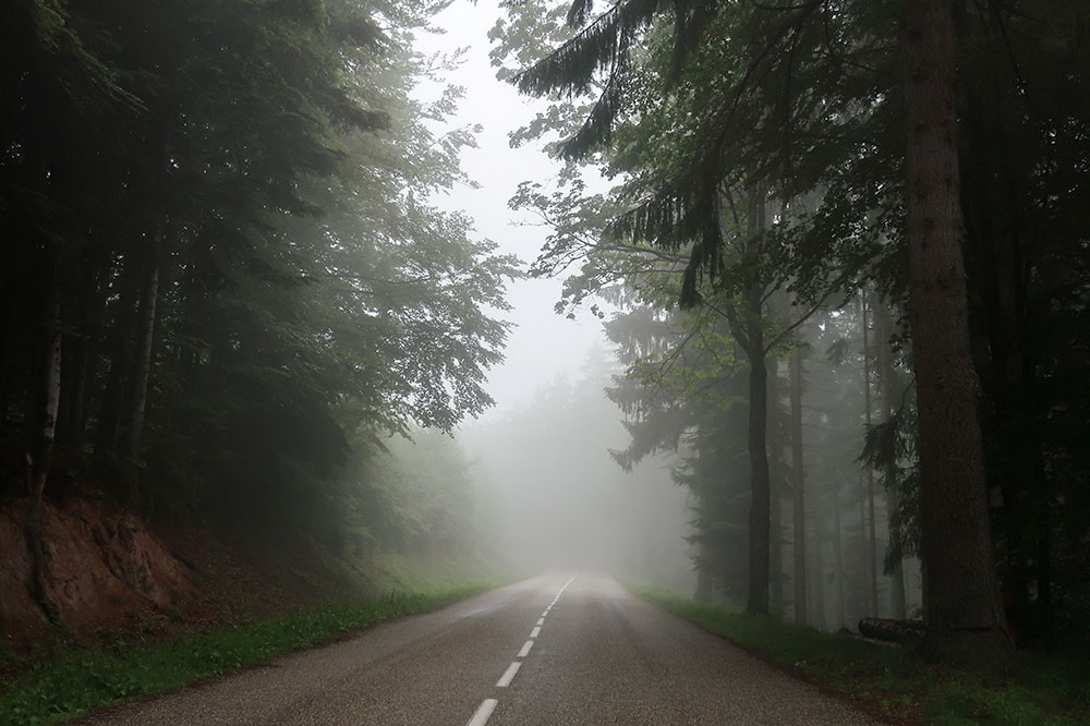 The road leading to Natzweiler-Struthof in the Vosges Mountains