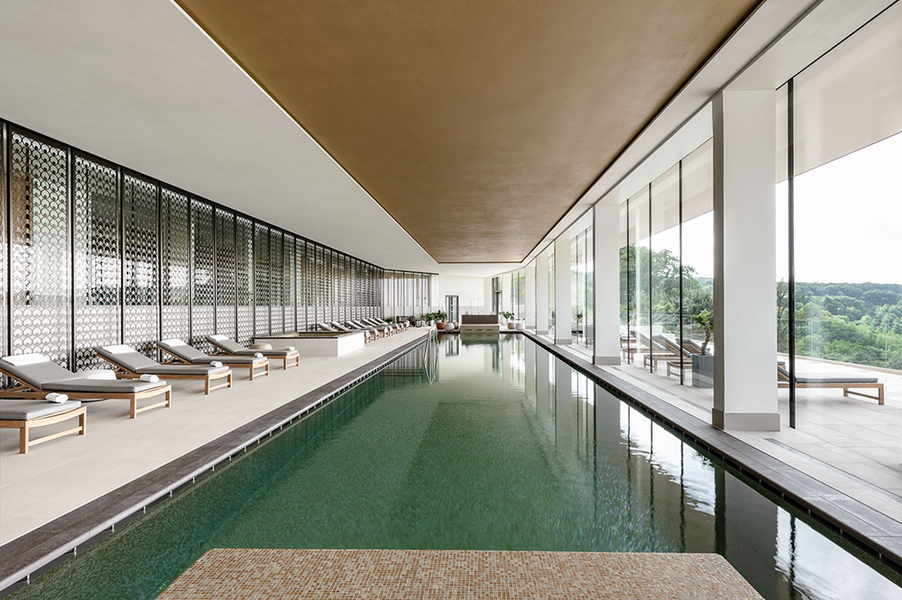 The indoor pool at the Royal Champagne Hotel & Spa