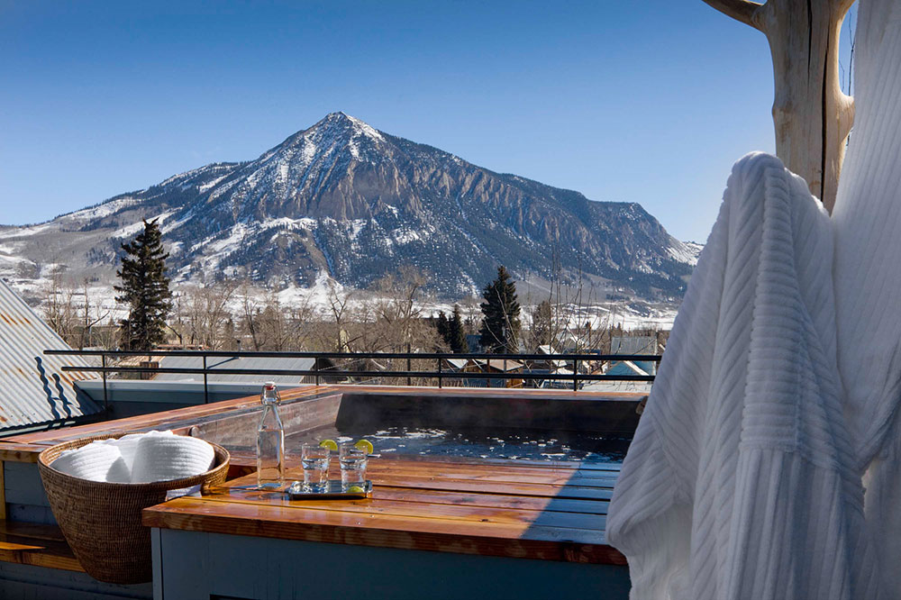 The hot tub at Scarp Ridge Lodge in Crested Butte, Colorado