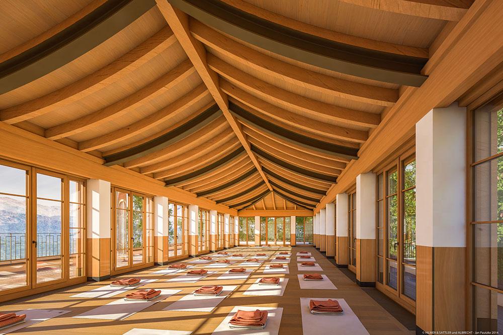 The yoga pavilion at Schloss Elmau in Elmau, Germany