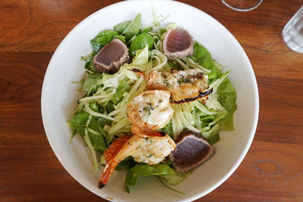 Seared ahi tuna and garlic-crusted prawns from Jane