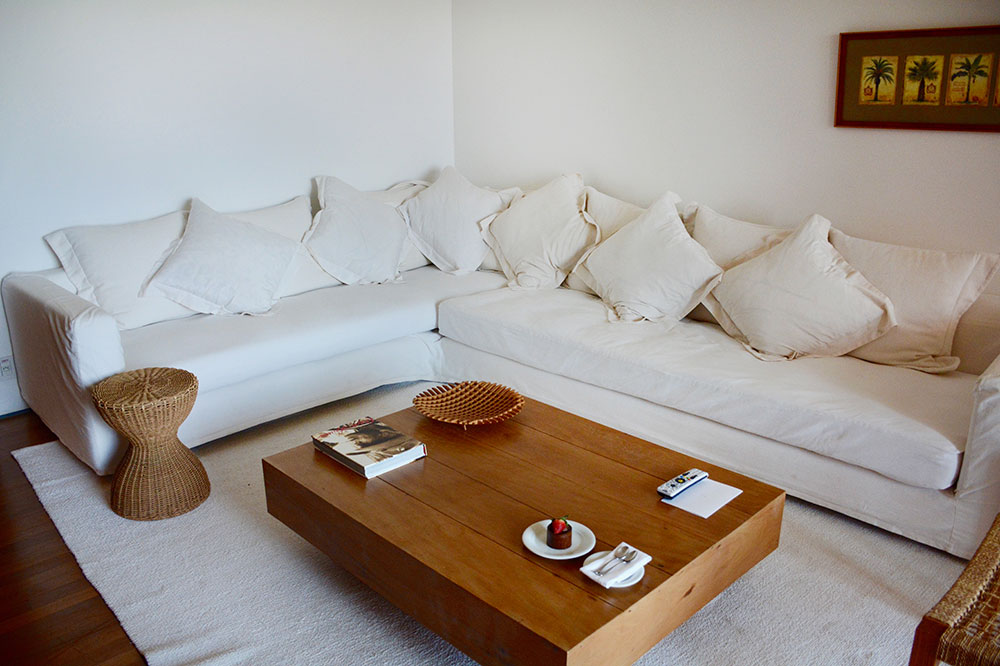 A seating area in our suite at Fasano Boa Vista