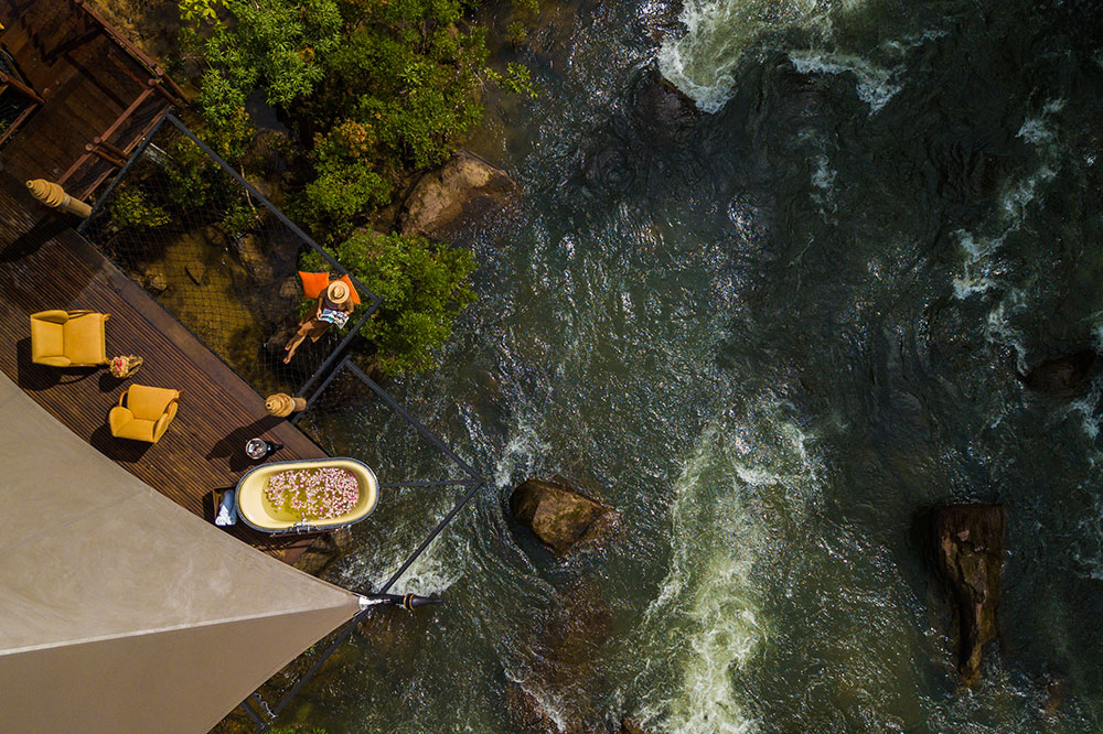 An aerial view of a tent's private tub at Shinta Mani Wild