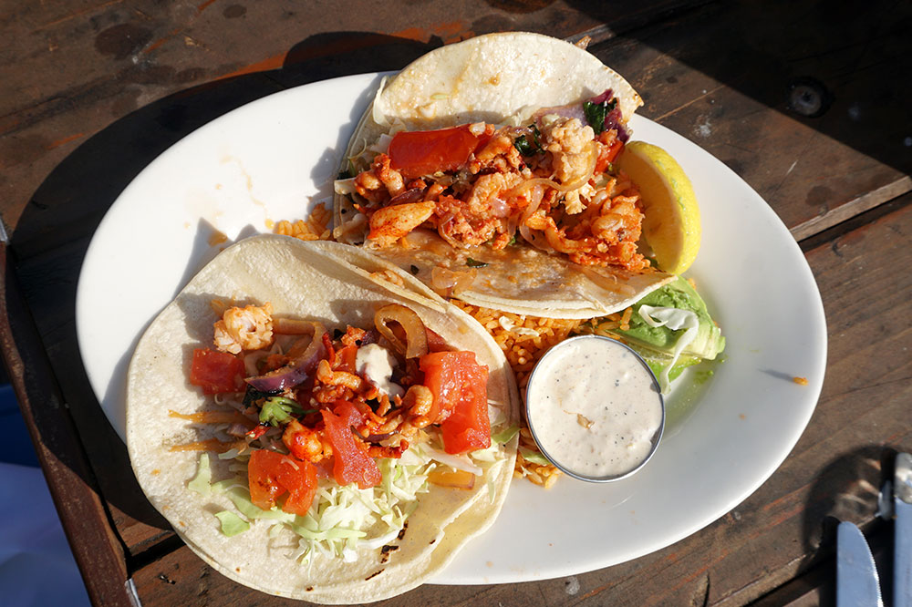 Shrimp tacos from Santa Barbara Shellfish Company in Santa Barbara, California