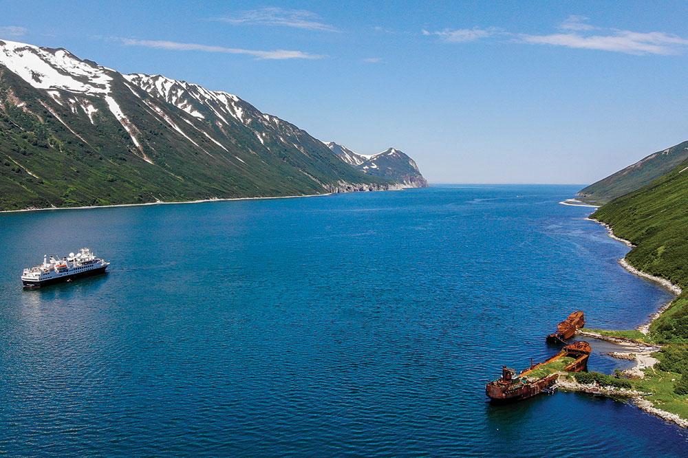 The <em>Silver Explorer</em> in Russkaya Bay during Silversea Cruises' Russian Far East cruise