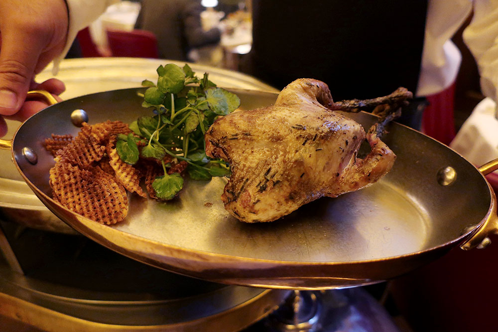 Yorkshire estate grouse with game chips from Simpson's in the Strand at The Savoy in London, England
