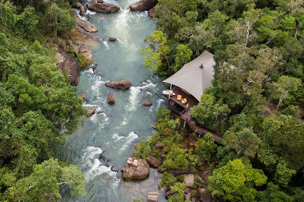An aerial view of a tent villa at Shinta Mani Wild in southern Cambodia