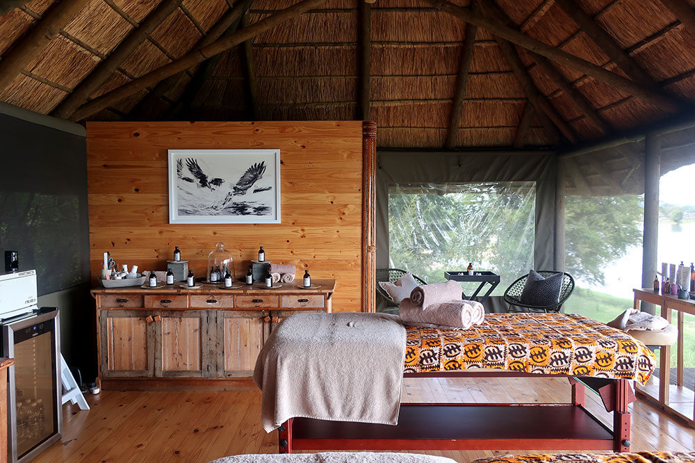 The spa treatment room at Victoria Falls River Lodge Island Treehouses