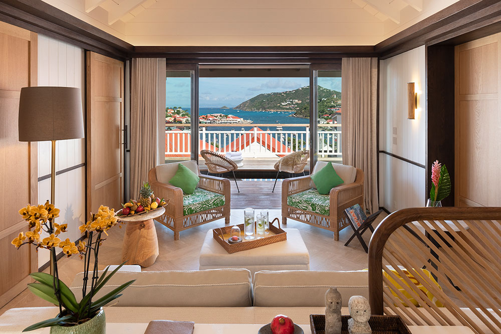 The Junior Suite Terrace With Sea View and Pool at Le Carl Gustaf in St. Barths