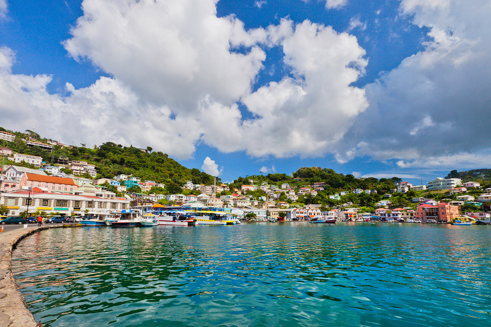 Carenage harbor in St. George's, Grenada