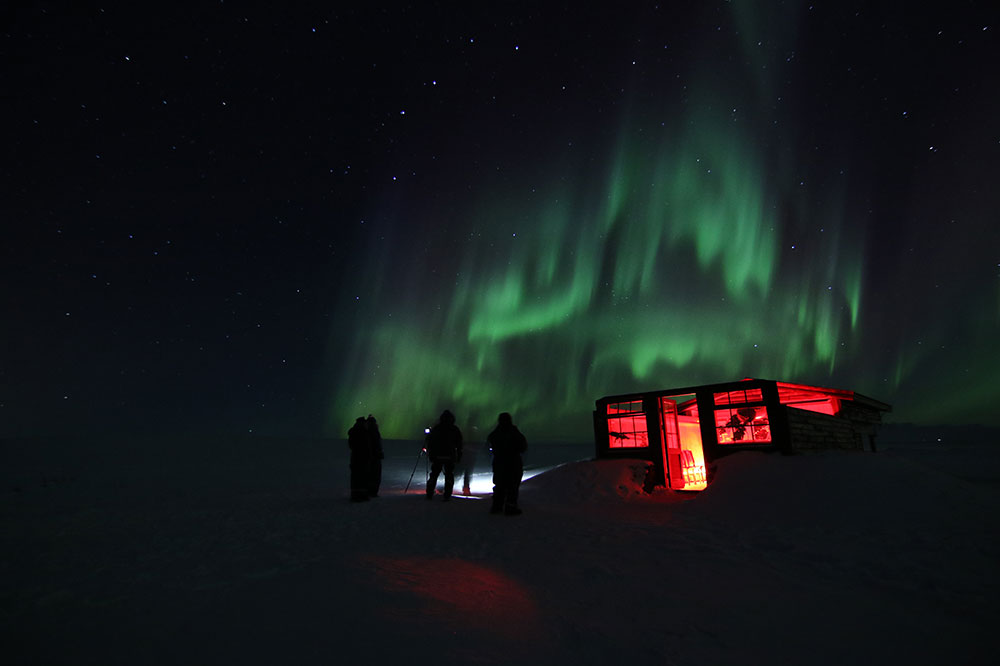 The stargazing observatory and view of the Northern Lights at Hotel Rangá