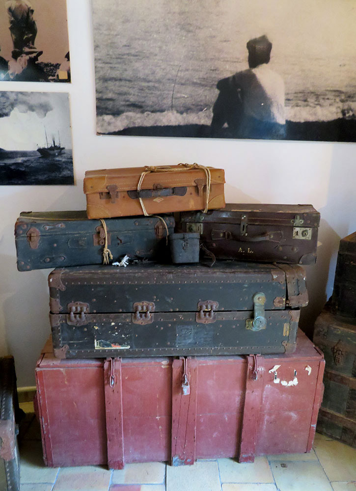 Suitcases of immigrants who traveled from Salina to America at the Museo Eoliana dell'Emigrazione