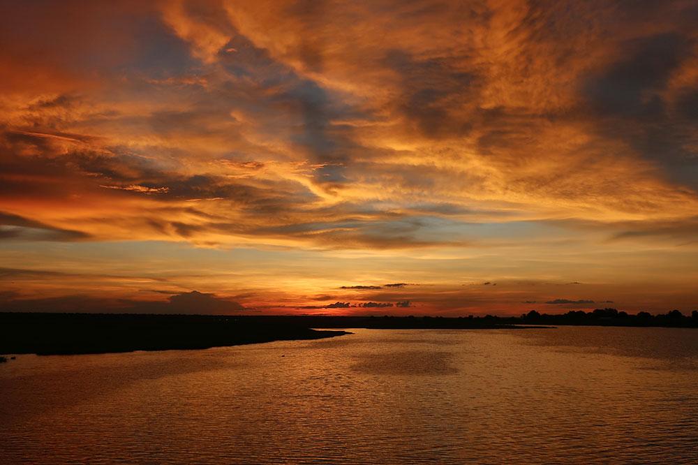 Sunset over the Chobe River as seen from the <em>Zambezi Queen</em>