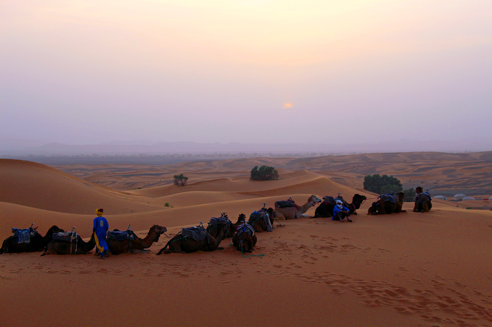 The sunset seen in the Sahara in Merzouga, Morocco