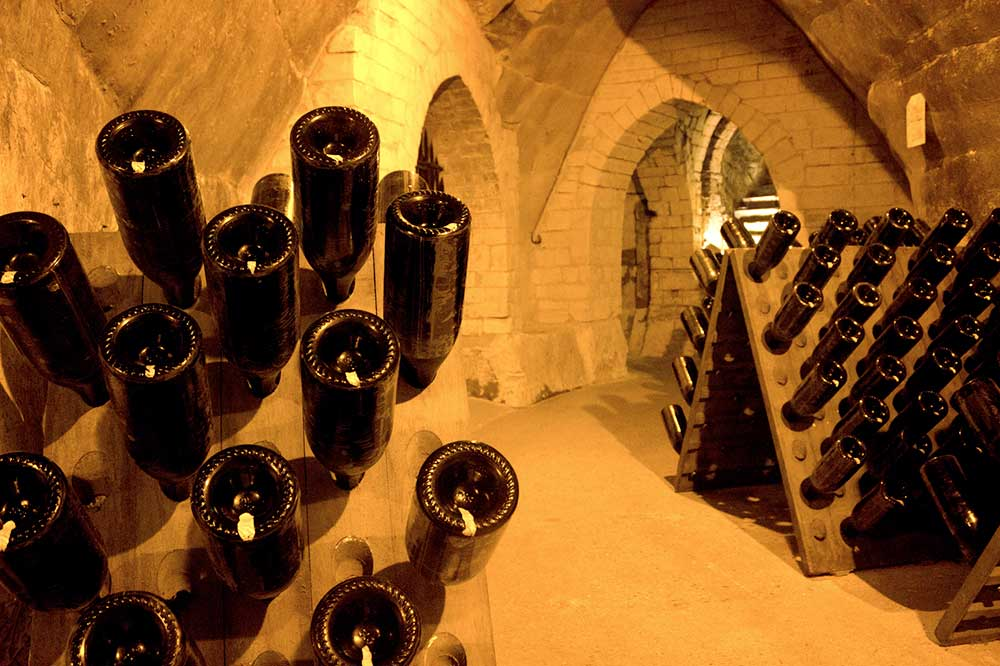 A Champagne cellar at Taittinger in Reims