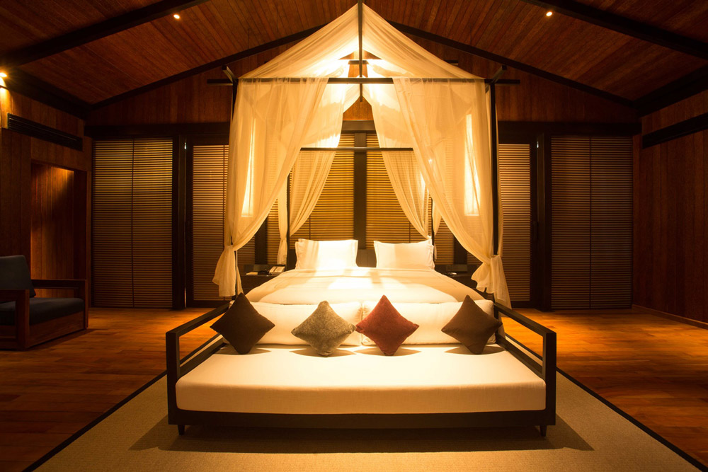 Canopy bed at the new Taj Exotica Resort in the Andaman Islands